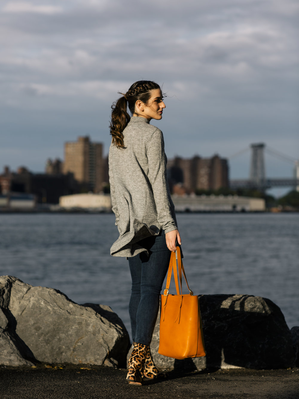 Long Grey Sweater Leopard Booties Louboutins & Love Fashion Blog Esther Santer NYC Street Style Blogger Outfit OOTD Trendy Hair Girl Women Leather Bag Jeans Denim Pretty Photoshoot Dumbo Brooklyn Shoes Fall Winter Shop Beautiful Wear Turtleneck Inspo.jpg