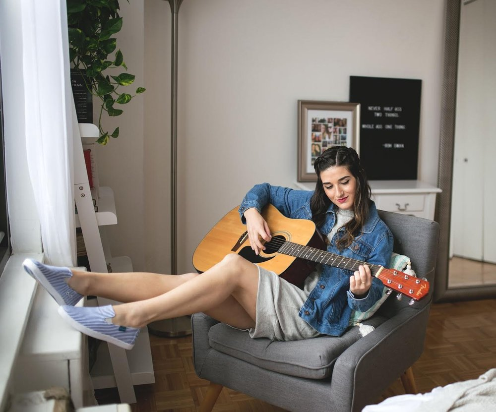 Weekend Attire Blu Kicks Louboutins & Love Fashion Blog Esther Santer NYC Street Style Blogger Outfit OOTD Trendy Denim Jacket Blue Jean Shoes Hair Pretty Model Photoshoot Bed Guitar Girl Women Cozy Comfortable Stripes New York City Lifestyle Shopping.jpg