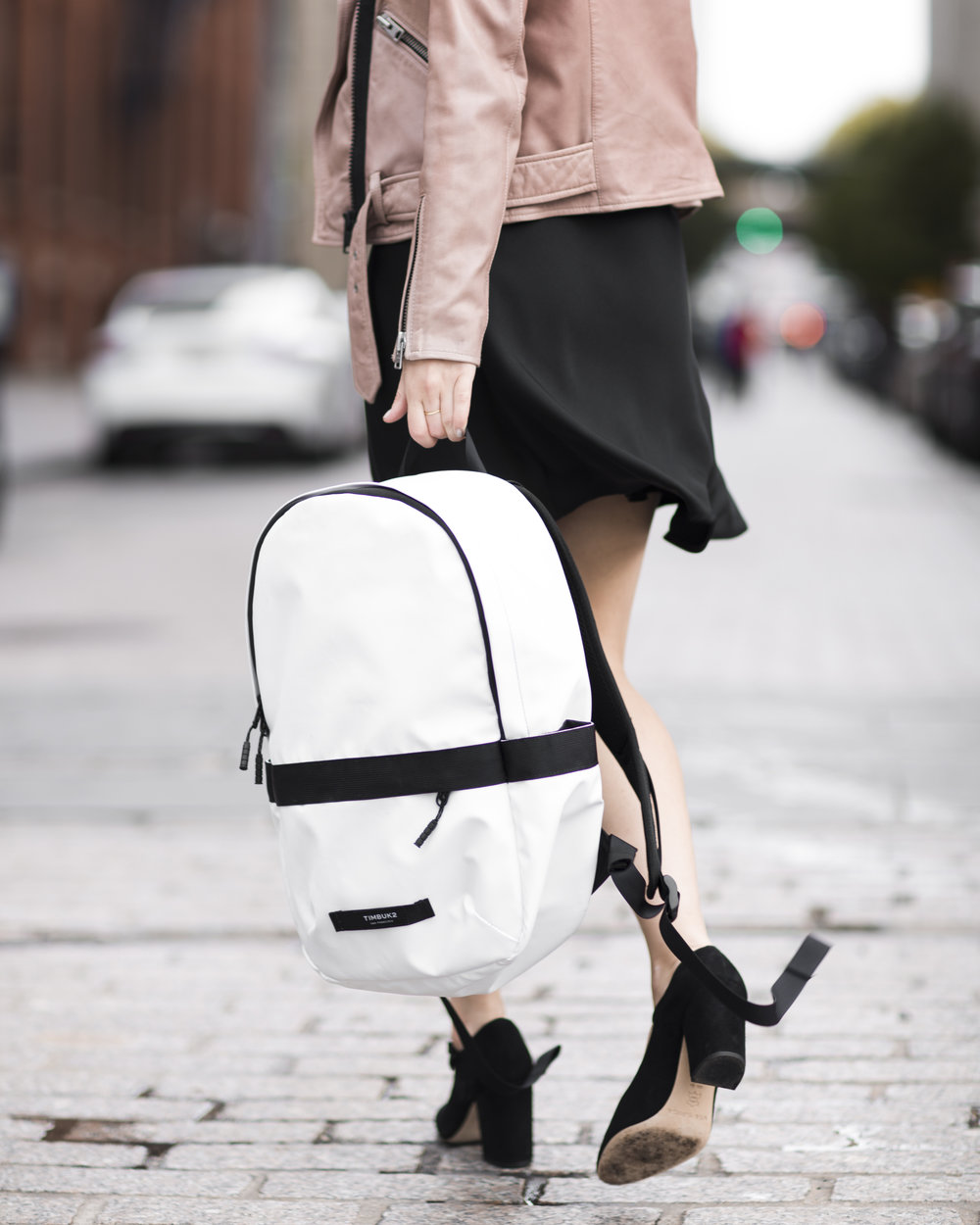 The Perfect Travel Backpack Timbuk2 Louboutins & Love Fashion Blog Esther Santer NYC Street Style Blogger Outfit OOTD Trendy All Saints Blush Pink Leather Backpack Black Pumps Shoes Heels Slip Dress Hair Braids Ponytail Women Girls Inspo Bag Vacation.jpg