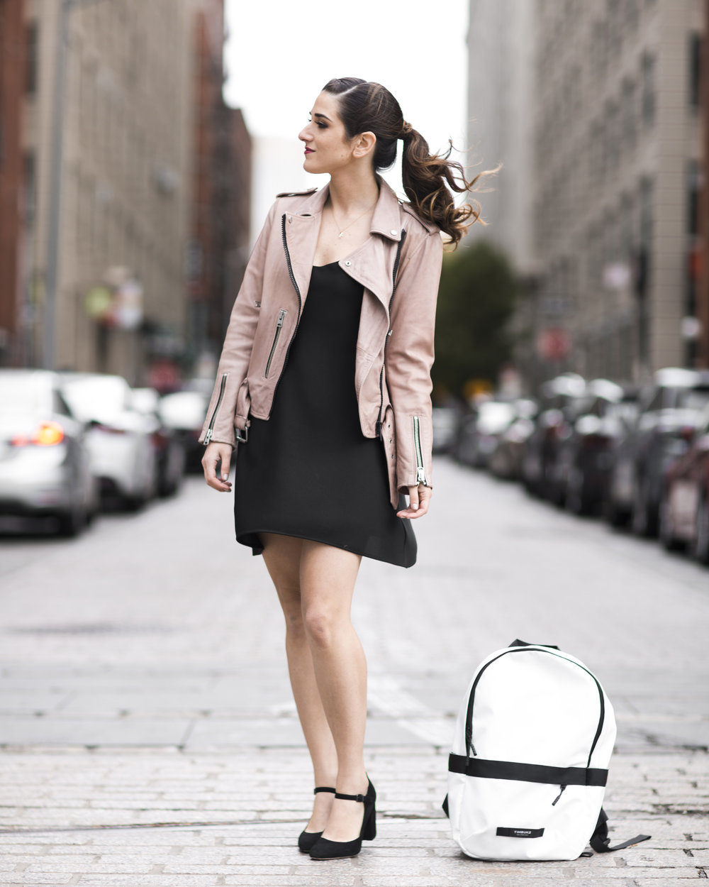The Perfect Travel Backpack Timbuk2 Louboutins & Love Fashion Blog Esther Santer NYC Street Style Blogger Outfit OOTD Trendy All Saints Blush Pink Leather Backpack Black Pumps Shoes Heels Slip Dress Hair Braids Ponytail Women Girls Inspo Vacation Bag.jpg