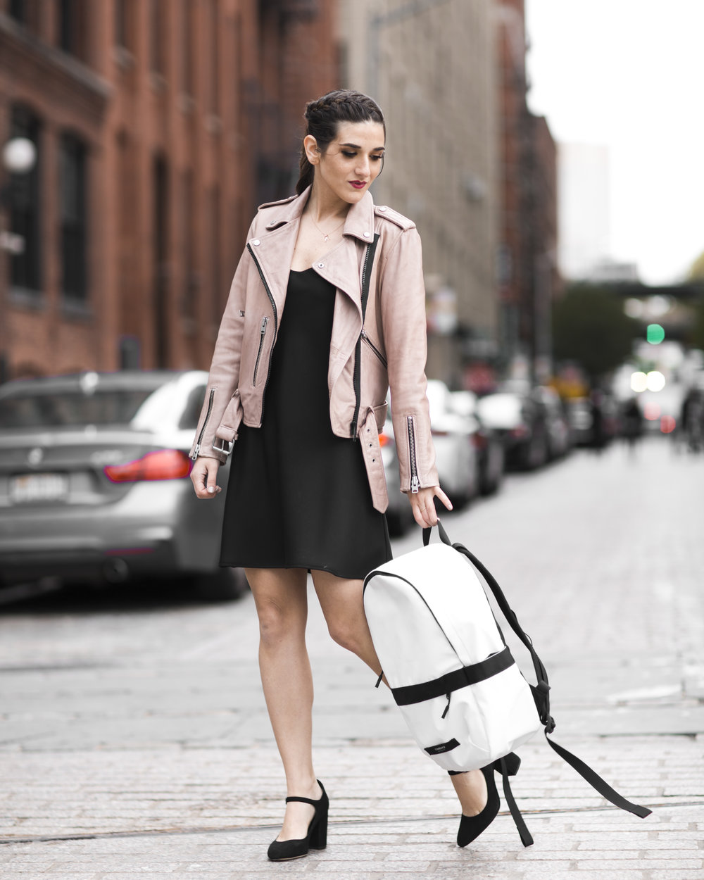The Perfect Travel Backpack Timbuk2 Louboutins & Love Fashion Blog Esther Santer NYC Street Style Blogger Outfit OOTD Trendy All Saints Blush Pink Leather Backpack Black Pumps Shoes Heels Slip Dress Hair Ponytail Braids Inspo Girls Women Vacation Bag.jpg