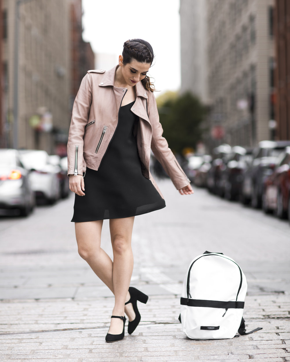 The Perfect Travel Backpack Timbuk2 Louboutins & Love Fashion Blog Esther Santer NYC Street Style Blogger Outfit OOTD Trendy All Saints Blush Pink Leather Backpack Black Pumps Shoes Heels Slip Dress Hair Ponytail Braids Women Girls Inspo Vacation Bag.jpg
