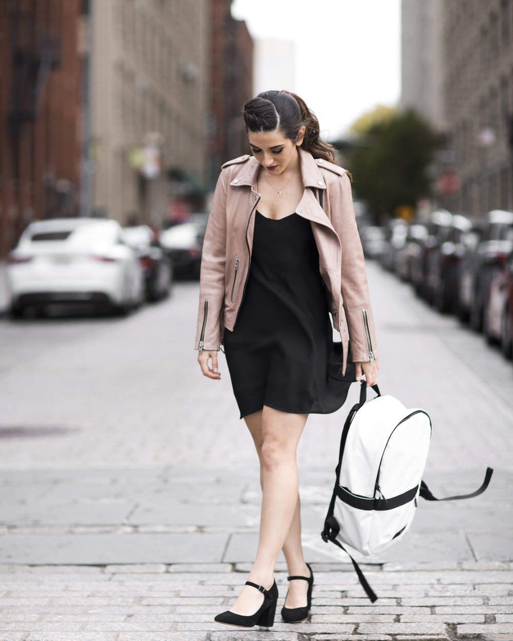 The Perfect Travel Backpack Timbuk2 Louboutins & Love Fashion Blog Esther Santer NYC Street Style Blogger Outfit OOTD Trendy All Saints Blush Pink Leather Backpack Black Pumps Shoes Heels Slip Dress Hair Ponytail Braids Inspo Women Girls Vacation Bag.jpg