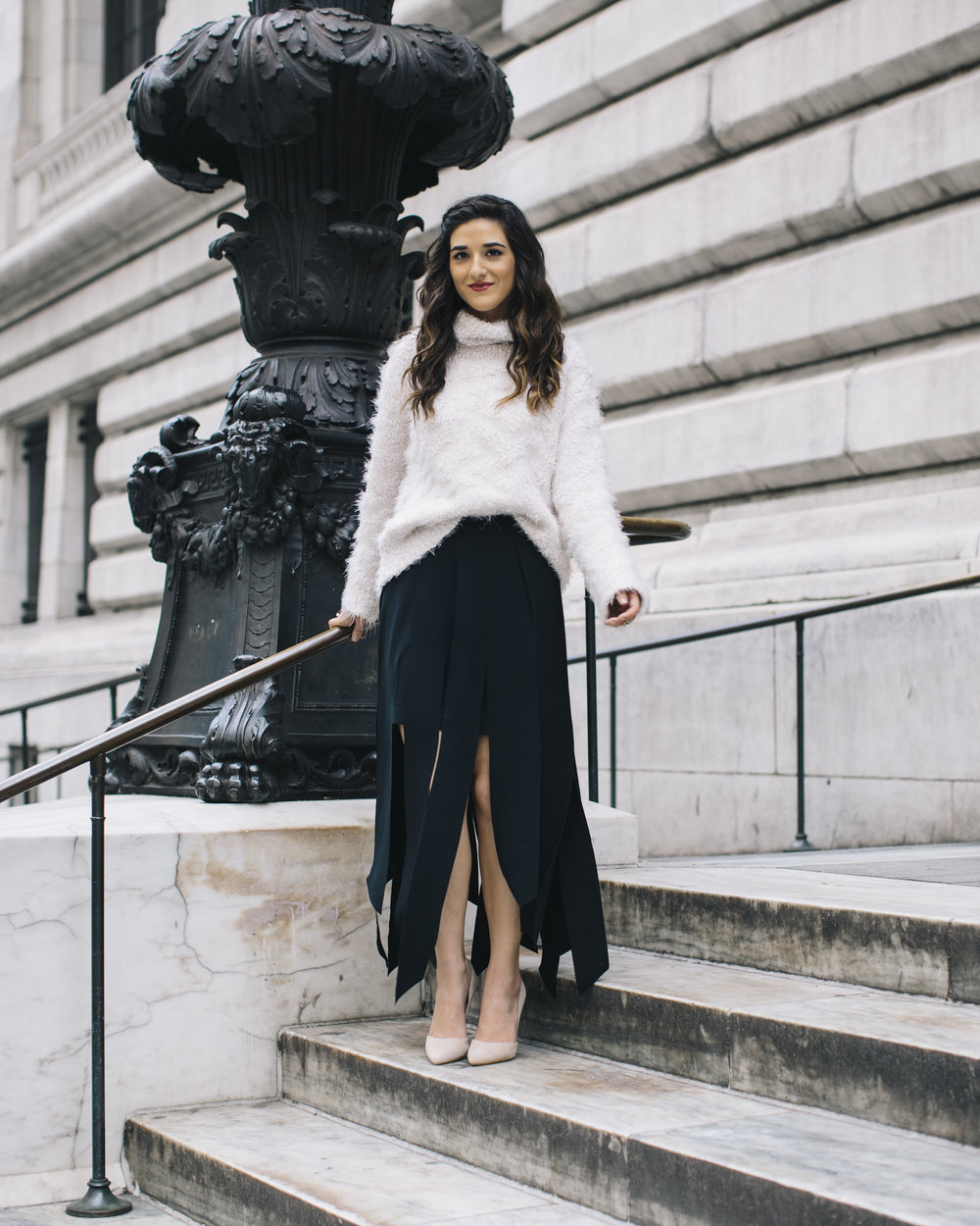 Shopping with Octer Fringe Skirt Louboutins & Love Fashion Blog Esther Santer NYC Street Style Blogger Outfit OOTD Buy Trendy Sweater Cozy Zara Steve Madden Nude Heels Neutral Colors Navy White Winter Beautiful Photoshoot New York City Hair Girl Women.jpg