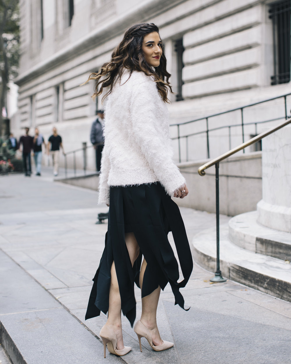 Shopping with Octer Fringe Skirt Louboutins & Love Fashion Blog Esther Santer NYC Street Style Blogger Outfit OOTD Buy Trendy Sweater Cozy Zara Steve Madden Nude Heels Neutral Colors Navy White Winter New York City Beautiful Photoshoot Hair Girl Women.jpg