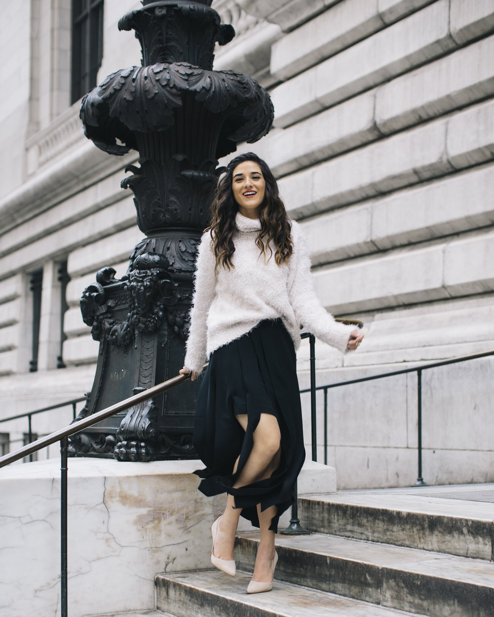 Shopping with Octer Fringe Skirt Louboutins & Love Fashion Blog Esther Santer NYC Street Style Blogger Outfit OOTD Buy Trendy Sweater Cozy Zara Steve Madden Nude Heels Neutral Colors Navy White Winter New York City Photoshoot Hair Beautiful Women Girl.jpg