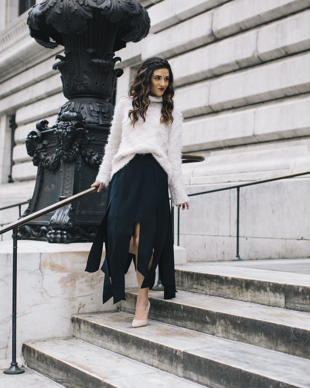 Shopping with Octer Fringe Skirt Louboutins & Love Fashion Blog Esther Santer NYC Street Style Blogger Outfit OOTD Buy Trendy Sweater Cozy Zara Steve Madden Nude Heels Neutral Colors Navy White Winter Photoshoot New York City Hair Beautiful Women Girl.jpg