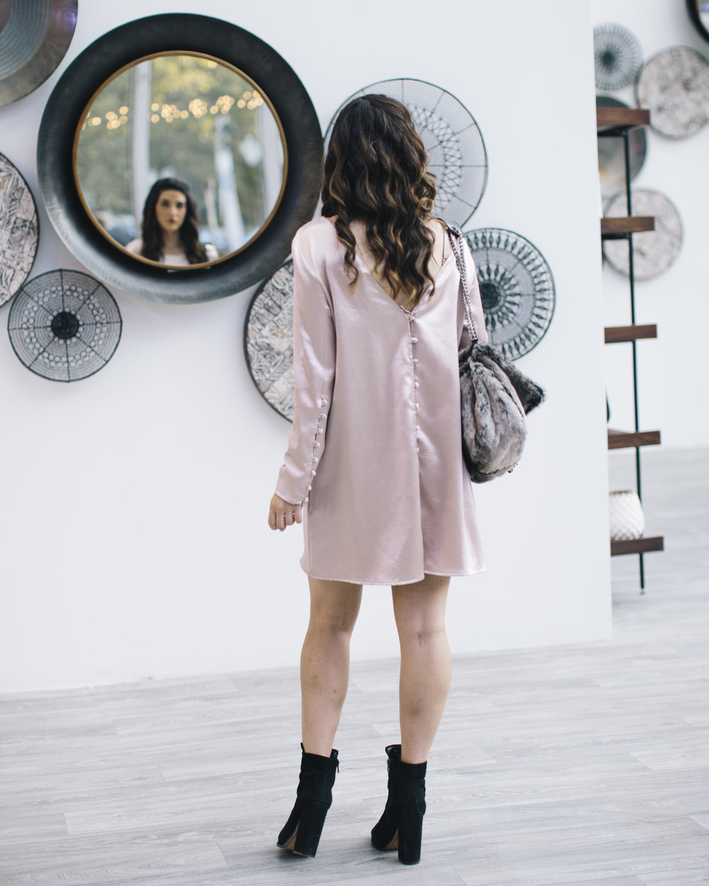 Blush Dress Faux-Fur Bag Q&A On Blogger Collaborations Louboutins & Love Fashion Blog Esther Santer NYC Street Style Blogger Outfit OOTD Trendy Shoes Black Booties Online Shopping Purse Pretty Braid Hair Girl Women Pink Holiday Inspo Clothes Lifestyle.jpg