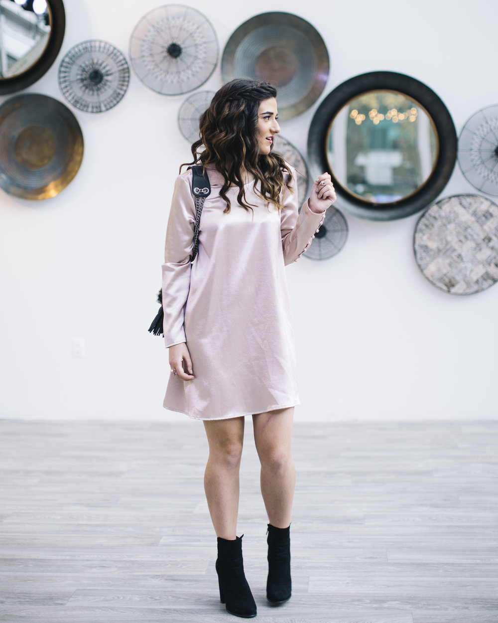 Blush Dress Faux-Fur Bag Q&A On Blogger Collaborations Louboutins & Love Fashion Blog Esther Santer NYC Street Style Blogger Outfit OOTD Trendy Shoes Black Booties Online Shopping Purse Pretty Girl Women Hair Pink Braid Inspo Holiday Lifestyle Clothes.jpg