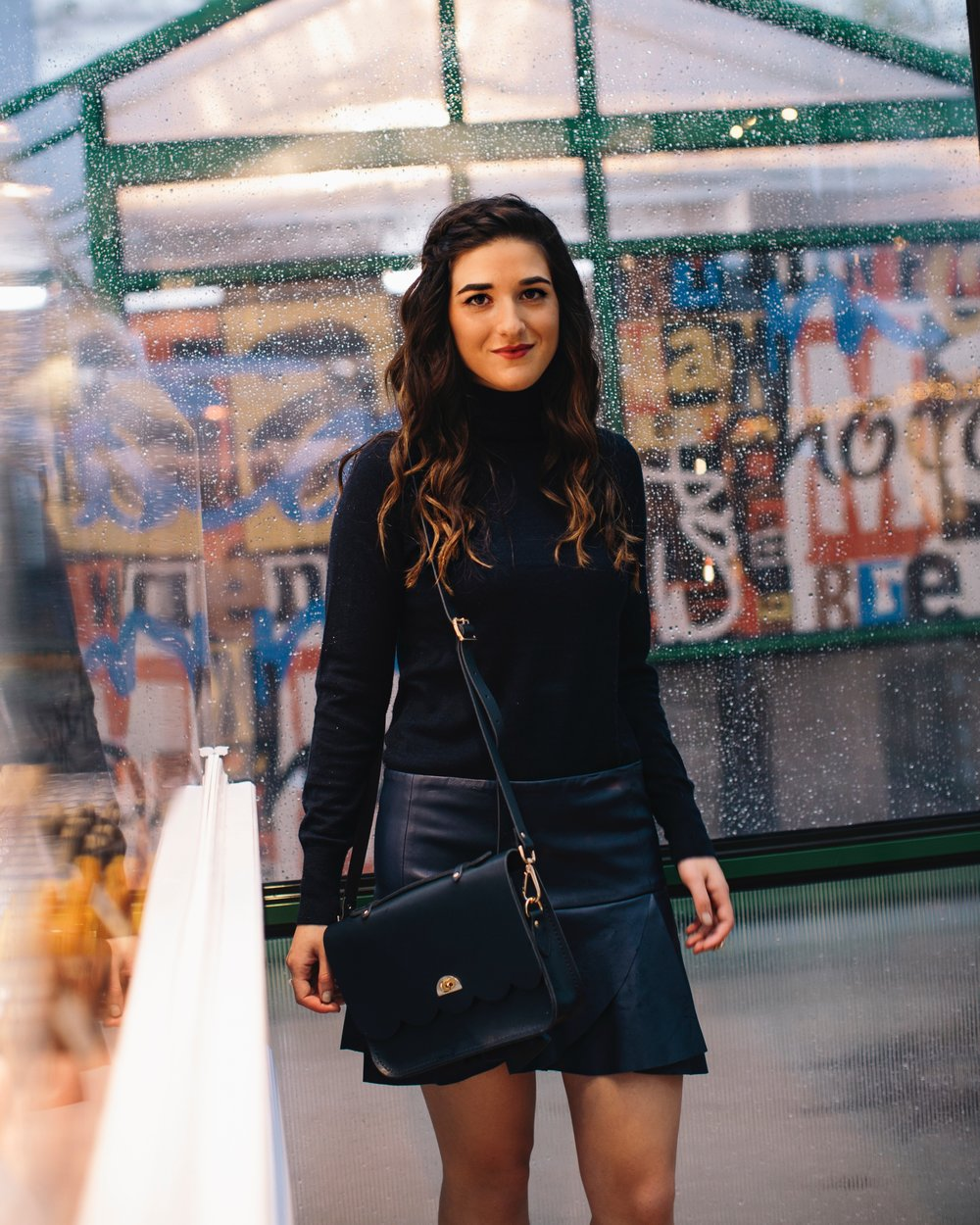 All Navy Look 20 Tips To Build Your Instagram Following Louboutins & Love Fashion Blog Esther Santer NYC Street Style Blogger Outfit OOTD Trendy Cambridge Satchel Bag Purse Girl Women Hair Shoes Leopard Booties Turtleneck Accessory Rings Neutral Skirt.jpg