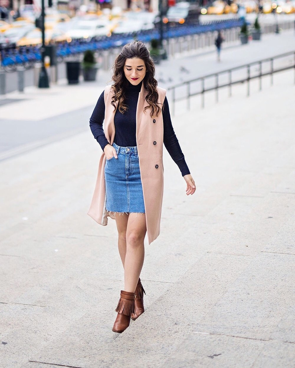 Blush Pink Vest Navy Turtleneck Banana Republic Louboutins & Love Fashion Blog Esther Santer NYC Street Style Blogger Outfit OOTD Trendy Fringe Booties Denim Mini Skirt Hair Model Photoshoot Girl Women Lifestyle Color Fall Ivanka Trump Booties Shoes.jpg
