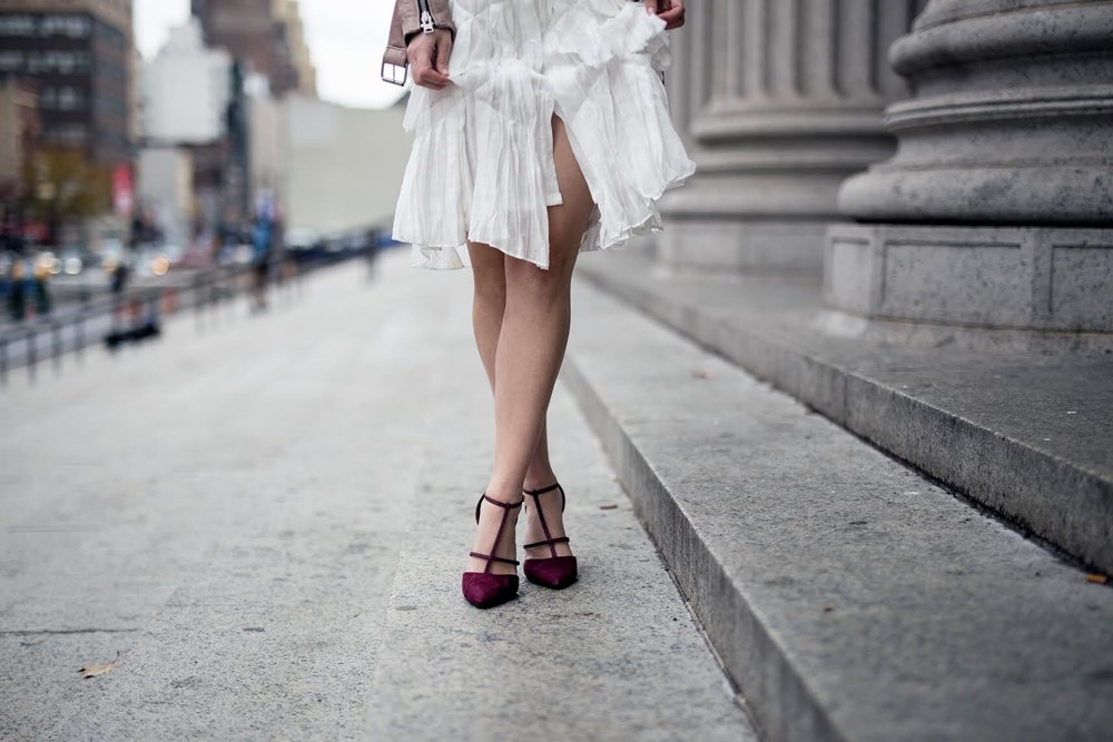 White Ruffle Dress Luvit Louboutins & Love Fashion Blog Esther Santer NYC Street Style Blogger Outfit OOTD Trendy Girly Feminine All Saints Blush Pink Leather Jacket Burgundy Heels Fall Look Inspo Online Shopping Wear Girl App Beauty Hair Women Shop.jpg