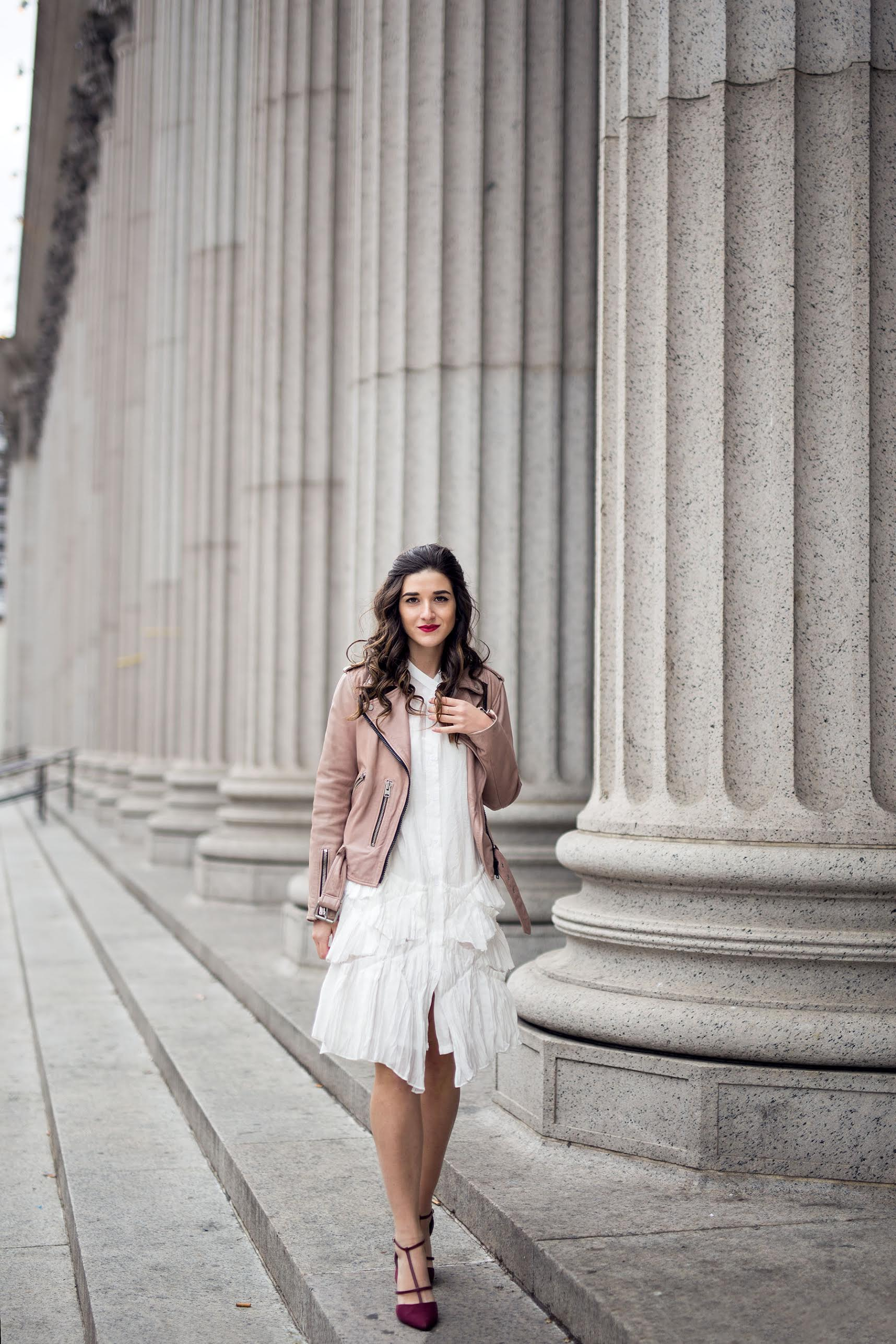 34f62c3c64e38 White Ruffle Dress Luvit Louboutins & Love Fashion Blog Esther Santer NYC  Street Style Blogger Outfit