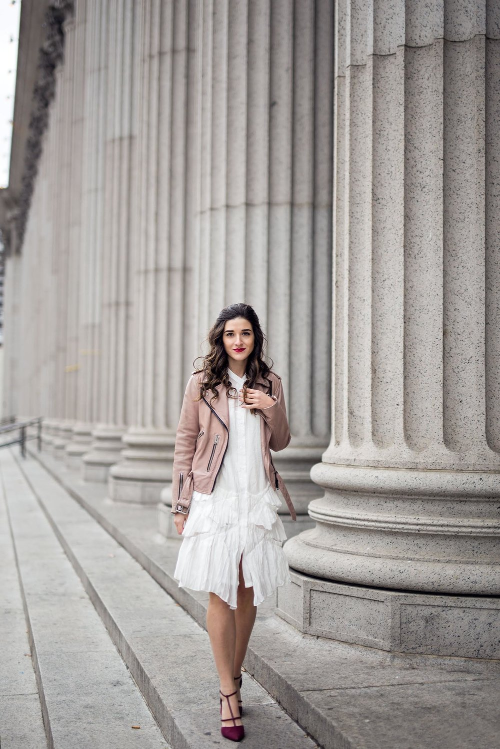 White Ruffle Dress Luvit Louboutins & Love Fashion Blog Esther Santer NYC Street Style Blogger Outfit OOTD Trendy Girly Feminine All Saints Blush Pink Leather Jacket Burgundy Heels Fall Look Inspo Online Shopping Wear Girl App Hair Beauty Women Shop.jpg