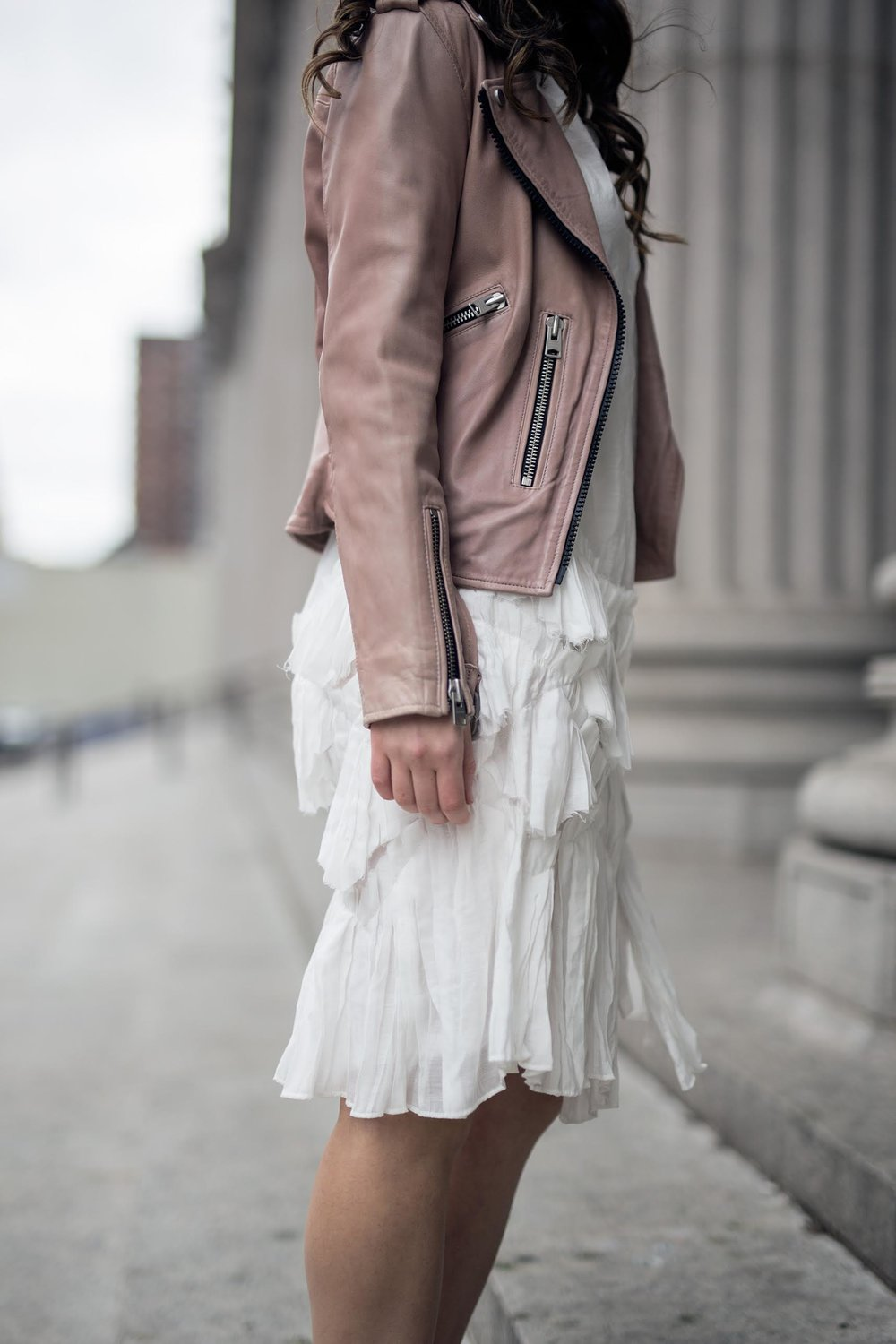 White Ruffle Dress Luvit Louboutins & Love Fashion Blog Esther Santer NYC Street Style Blogger Outfit OOTD Trendy Girly Feminine All Saints Blush Pink Leather Jacket Burgundy Heels Fall Look Inspo Wear Online Shopping Girl App Hair Beauty Women Shop.jpg