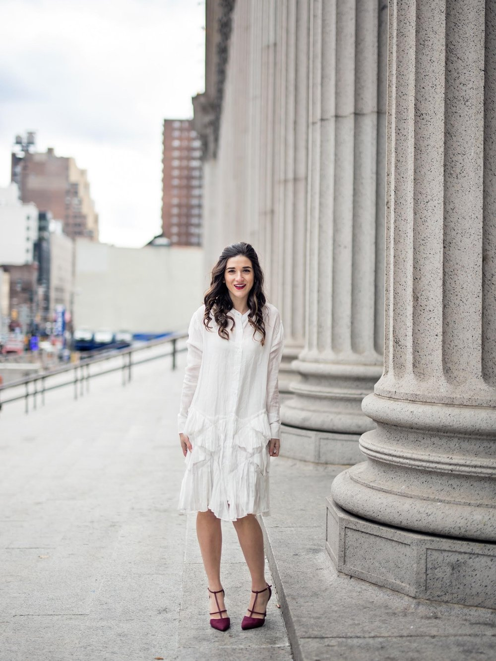 White Ruffle Dress Luvit Louboutins & Love Fashion Blog Esther Santer NYC Street Style Blogger Outfit OOTD Trendy Girly Feminine All Saints Blush Pink Leather Jacket Burgundy Heels Fall Look Inspo Wear Online Shopping App Girl Hair Women Beauty Shop.jpg