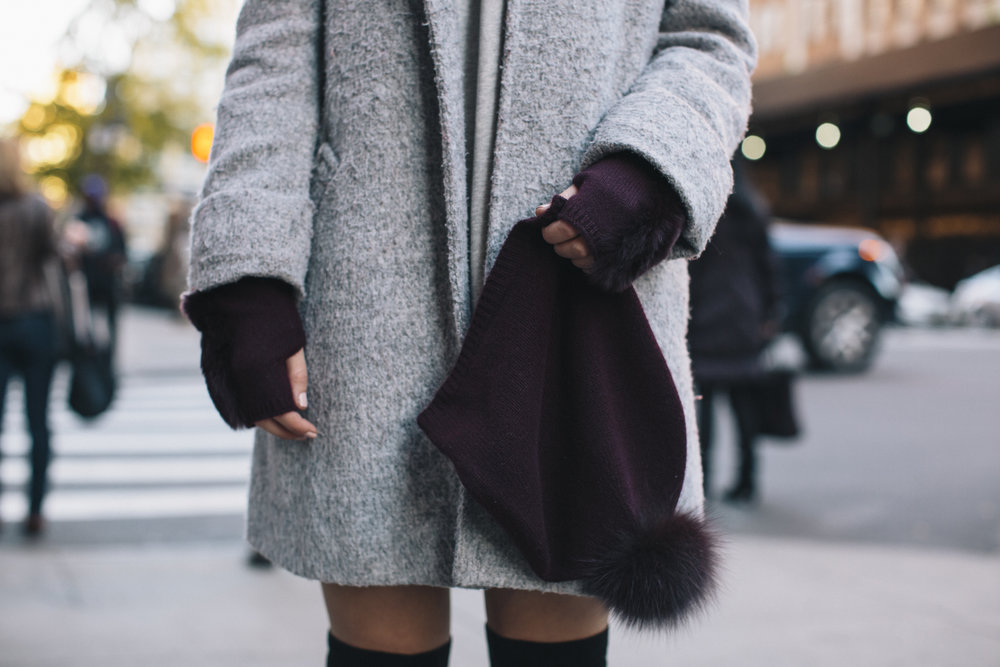 Cashmere Hat And Glove Set Piccolo New York Louboutins & Love Fashion Blog Esther Santer NYC Street Style Blogger Outfit OOTD Trendy Winter Wear Cold Weather Online Shopping Holiday Season Grey Coat Zara Sweatshirt Dress OTK Boots Ivanka Trump Cozy.jpg