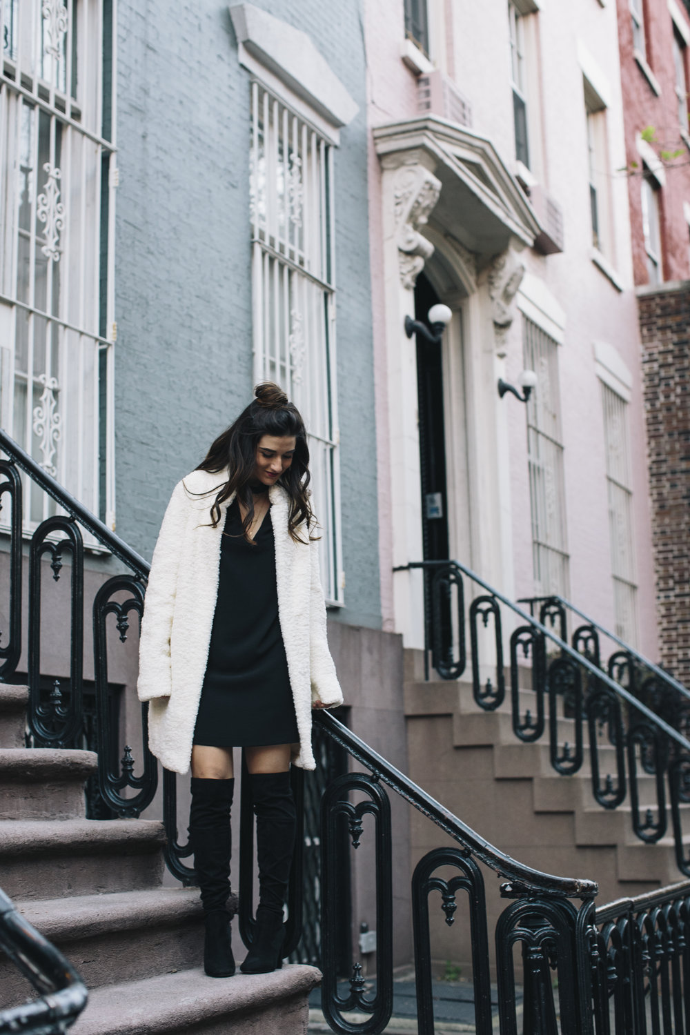 Teddy Bear Coat + OTN Boots How To Avoid Blogger Depression Louboutins & Love Fashion Blog Esther Santer NYC Street Style Blogger Outfit OOTD Trendy Ivanka Trump Nordstrom Bloomingdales Black Dress Zara Pretty Online Shopping Wear Shoes Bun Girl Women.jpg