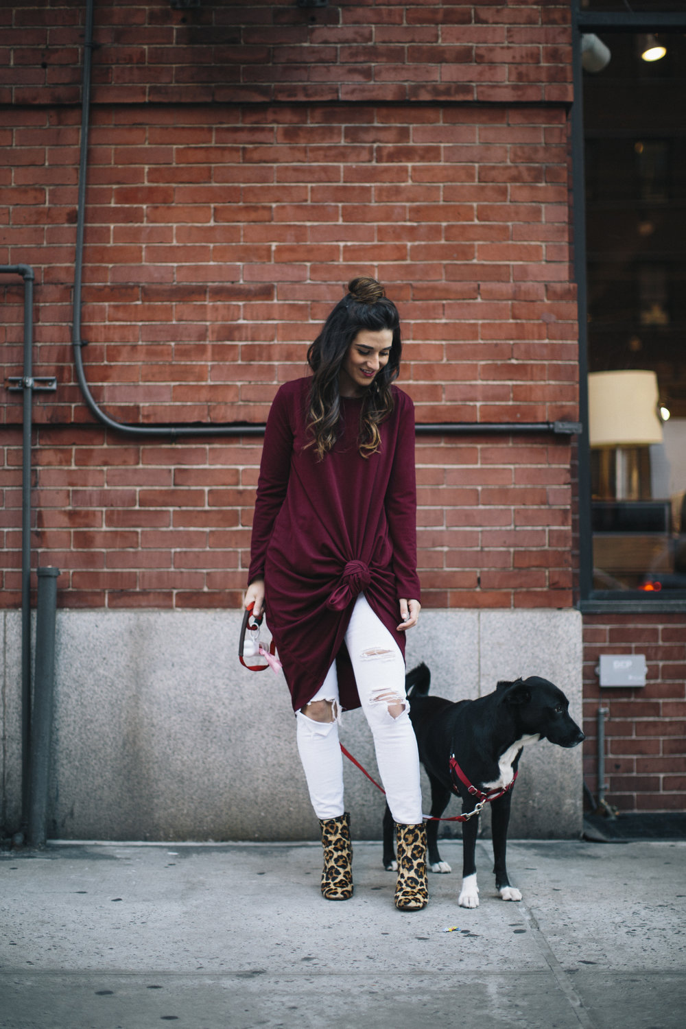Knotted Dress + Ripped White Jeans 4 Ways To Build Connections Louboutins & Love Fashion Blog Esther Santer NYC Street Style Blogger Outfit OOTD Trendy Red Maroon Burgundy Winter Color Leopard Coach Booties Pants Girl Women Bun Topknot Hair Shoes Wear.jpg