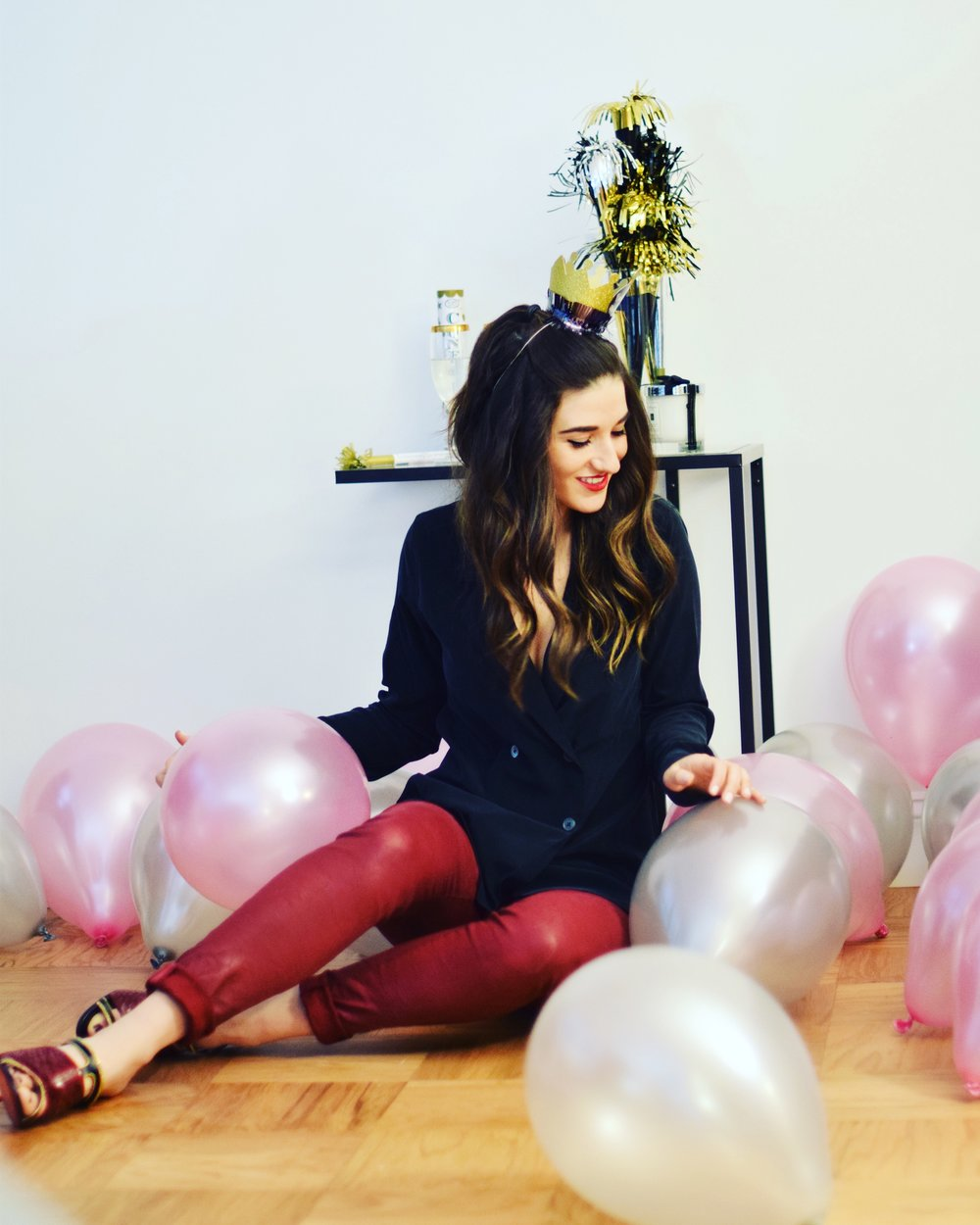 New Year New Direction Louboutins & Love Fashion Blog Esther Santer NYC Street Style Blogger Outfit OOTD Trendy 2017 NYE Resolution AG Jeans Christian Louboutin Mules Heels Shoes Red Soles Pants Black Top Pretty Wear Shop Celebration Balloons Girl Fun.JPG