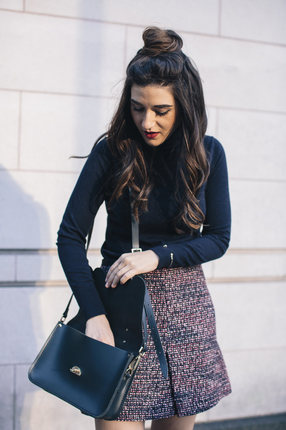 Navy Turtleneck Tweed Skirt My 10 Best Blogging Moments Louboutins & Love Fashion Blog Esther Santer NYC Street Style Blogger Outfit OOTD Trendy Cambridge Satchel Bag Topknot Hair Bun Girl Women Beauty Winter Shoes Ivanka Trump Tan Fringe Booties Shop.jpg