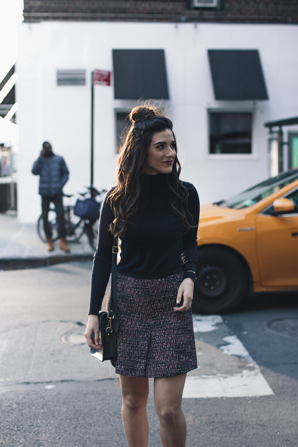 Navy Turtleneck Tweed Skirt My 10 Best Blogging Moments Louboutins & Love Fashion Blog Esther Santer NYC Street Style Blogger Outfit OOTD Trendy Cambridge Satchel Bag Topknot Hair Bun Girl Women Beauty Winter Shoes Tan Fringe Ivanka Trump Booties Shop.jpg