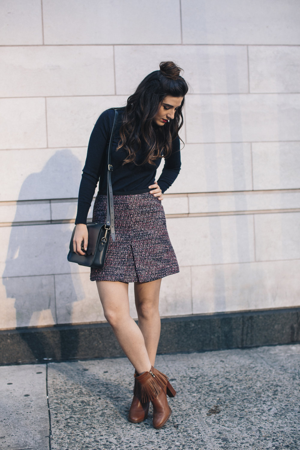 Navy Turtleneck Tweed Skirt My 10 Best Blogging Moments Louboutins & Love Fashion Blog Esther Santer NYC Street Style Blogger Outfit OOTD Trendy Cambridge Satchel Bag Topknot Hair Bun Girl Women Beauty Winter Shop Shoes Tan Fringe Ivanka Trump Booties.jpg