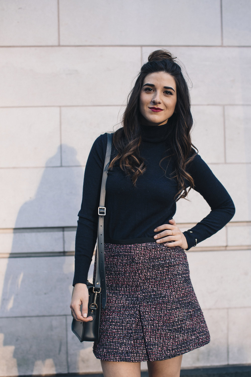 Navy Turtleneck Tweed Skirt My 10 Best Blogging Moments Louboutins & Love Fashion Blog Esther Santer NYC Street Style Blogger Outfit OOTD Trendy Cambridge Satchel Topknot Bag Hair Bun Women Girl Winter Beauty Shop Shoes Tan Fringe Ivanka Trump Booties.jpg