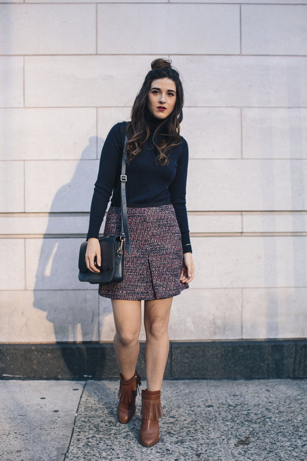 Navy Turtleneck Tweed Skirt My 10 Best Blogging Moments Louboutins & Love Fashion Blog Esther Santer NYC Street Style Blogger Outfit OOTD Trendy Cambridge Satchel Topknot Bag Hair Bun Women Girl Winter Beauty Shop Tan Fringe Shoes Ivanka Trump Booties.jpg