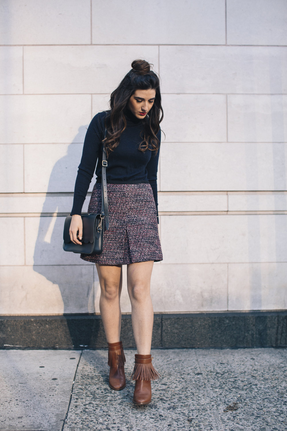 Navy Turtleneck Tweed Skirt My 10 Best Blogging Moments Louboutins & Love Fashion Blog Esther Santer NYC Street Style Blogger Outfit OOTD Trendy Cambridge Satchel Topknot Bag Hair Bun Women Girl Winter Shop Beauty Shoes Tan Fringe Ivanka Trump Booties.jpg