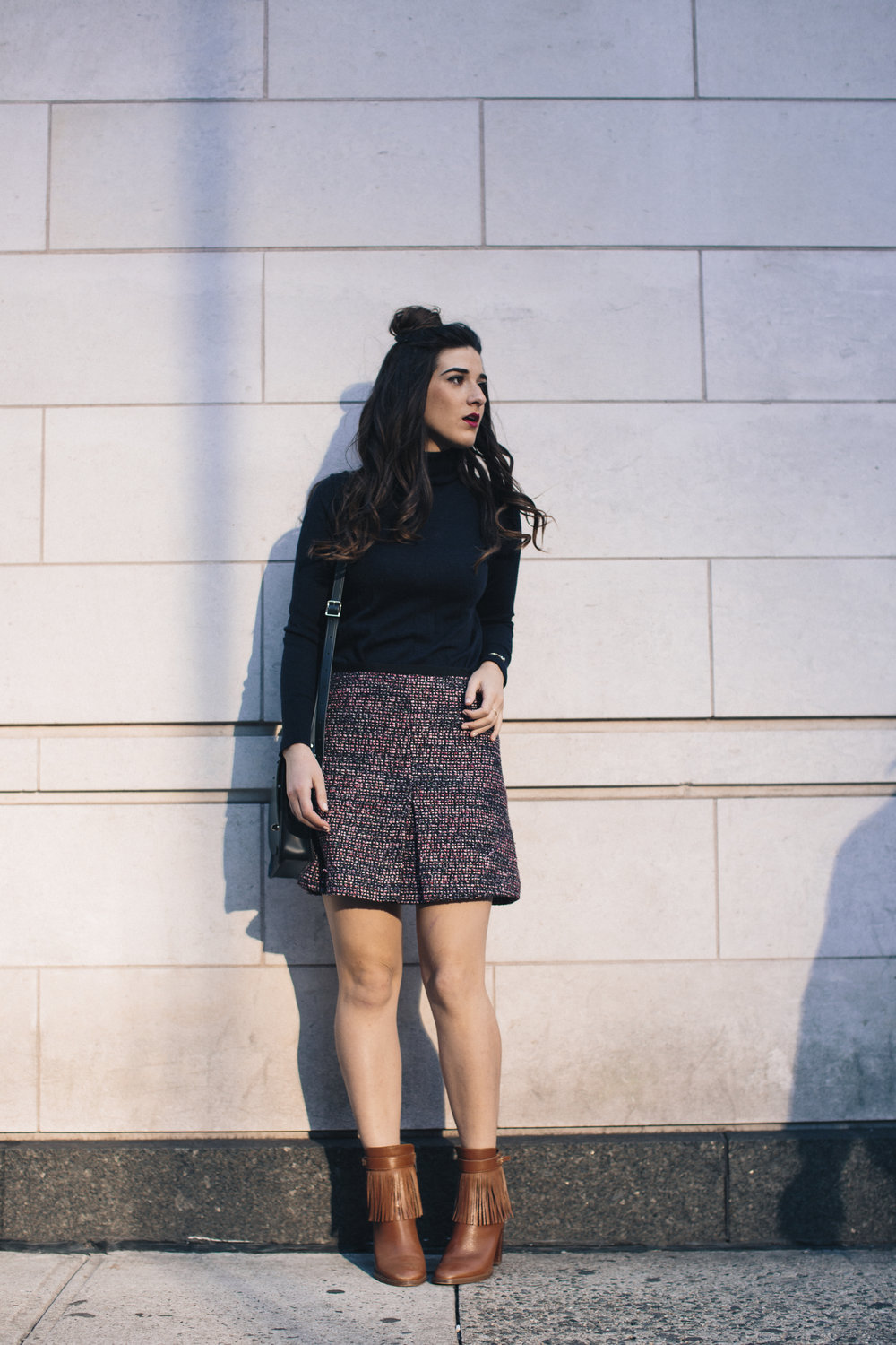 Navy Turtleneck Tweed Skirt My 10 Best Blogging Moments Louboutins & Love Fashion Blog Esther Santer NYC Street Style Blogger Outfit OOTD Trendy Cambridge Satchel Topknot Bag Hair Bun Women Girl Winter Shop Beauty Tan Fringe Shoes Ivanka Trump Booties.jpg
