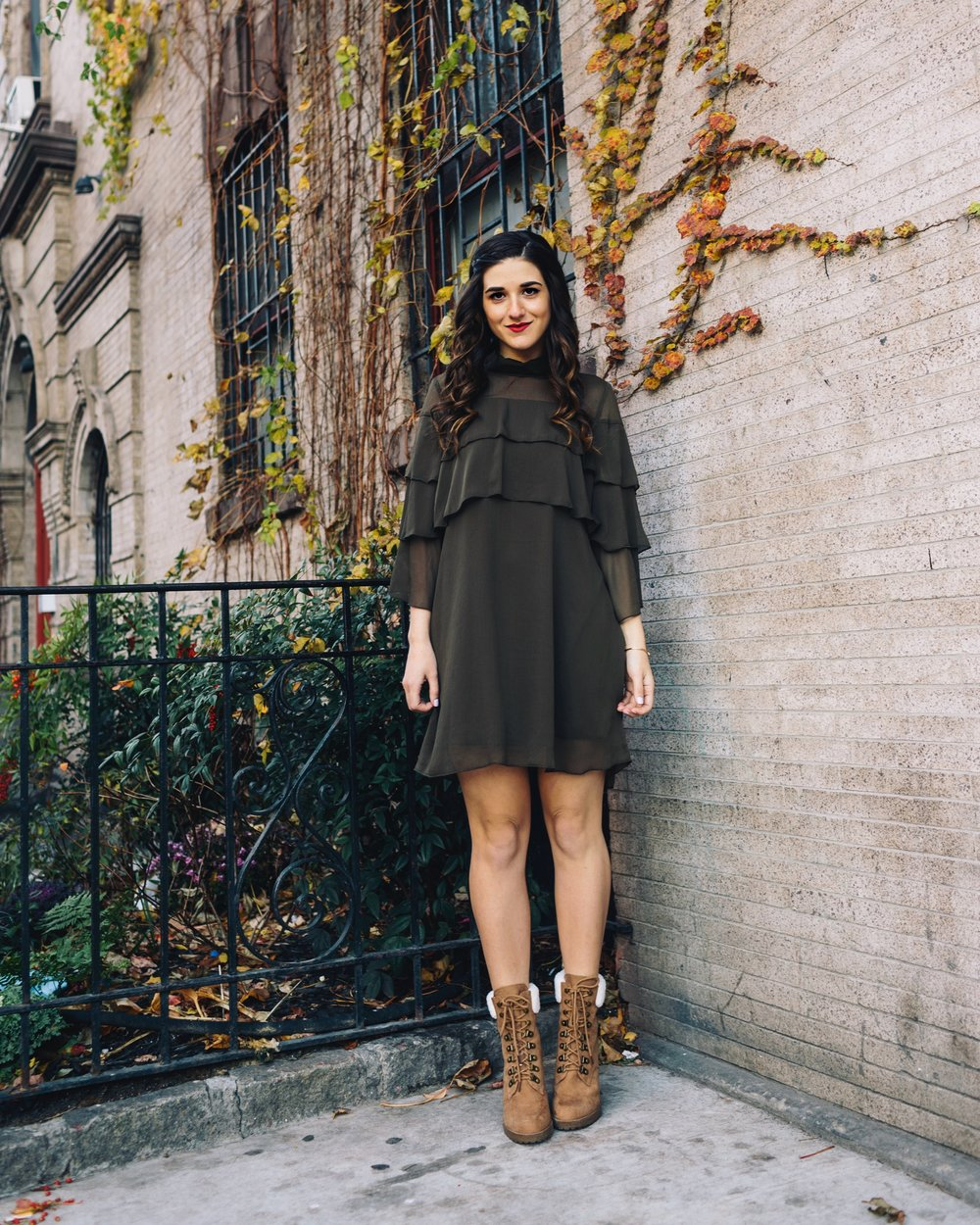 Olive Green Ruffle Dress + Lace Up Booties Payless Louboutins & Love Fashion Blog Esther Santer NYC Street Style Blogger Outfit OOTD Trendy Shoes Inspo Girly Fall Winter Hair Shopping Affordable Boots  Photoshoot Clothes Wear Bracelet Pretty Beautiful.JPG