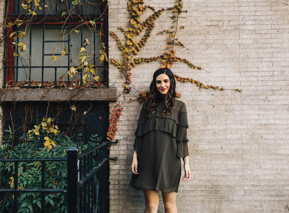 Olive Green Ruffle Dress + Lace Up Booties Payless Louboutins & Love Fashion Blog Esther Santer NYC Street Style Blogger Outfit OOTD Trendy Shoes Inspo Girly Fall Winter Shopping Affordable Boots Hair Photoshoot Wear Clothes Bracelet Pretty Beautiful.JPG