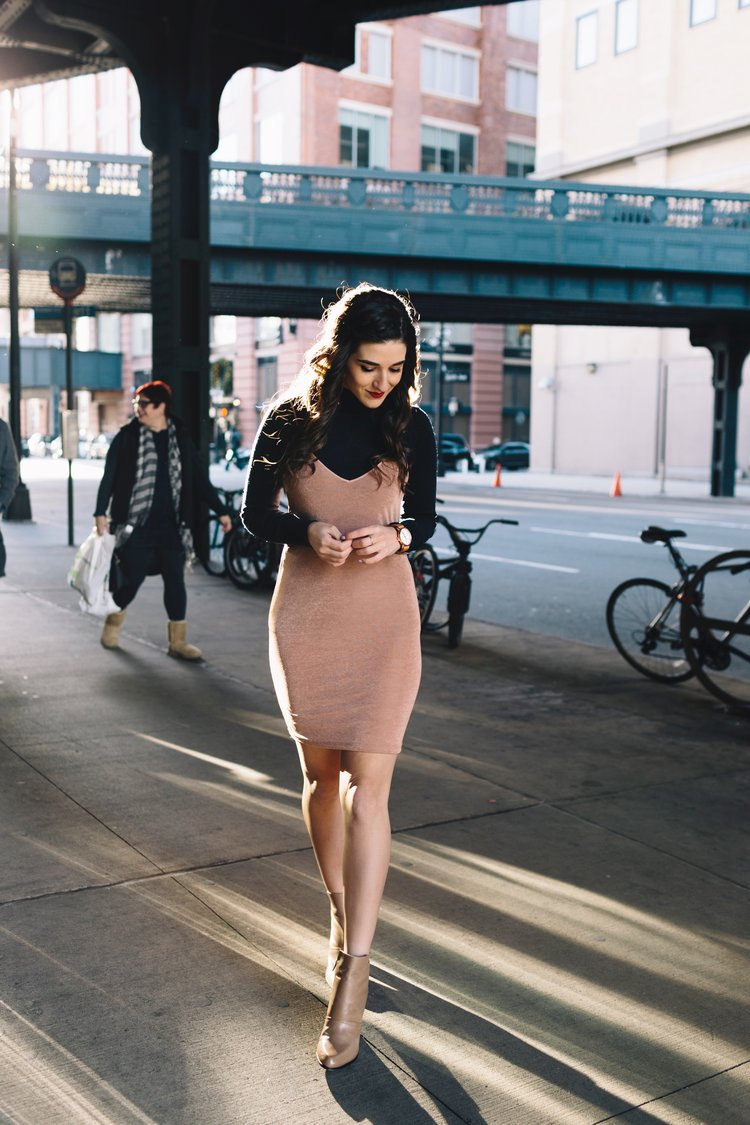 Navy Turtleneck + Pink Slip Dress Finding Your Niche Esther Santer Fashion  Blog Louboutins & Love