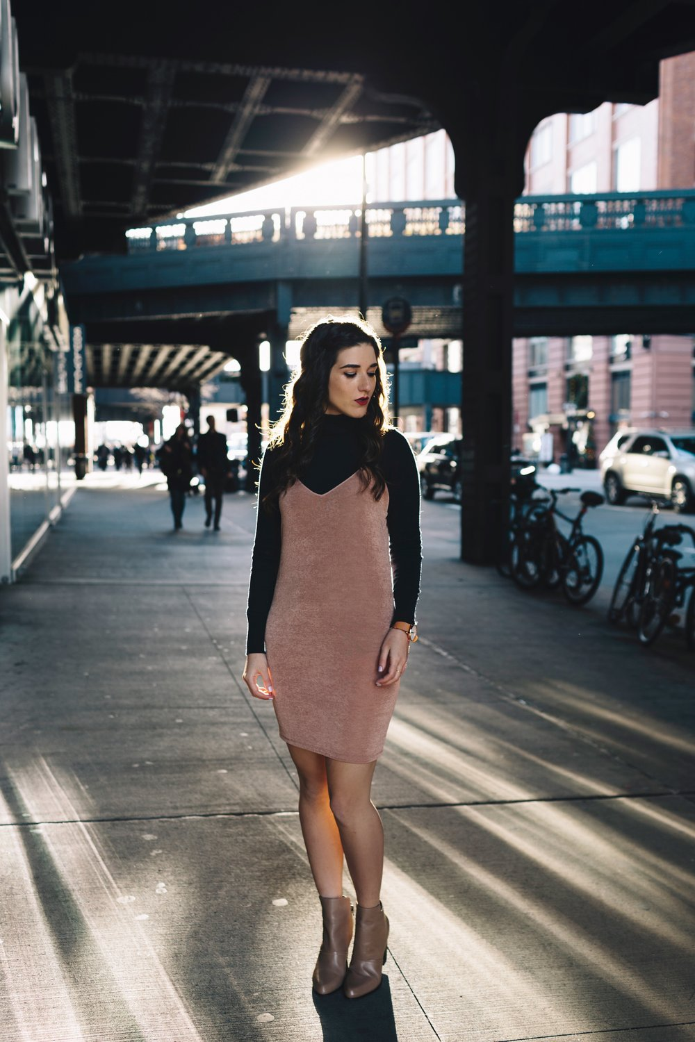 Navy Turtleneck + Pink Slip Dress Finding Your Niche Esther Santer Fashion Blog Louboutins & Love NYC Street Style Blogger Outfit OOTD Trendy Booties Shoes Hair Girl Women Winter Look Shopping Zara  Shirt M4D3 Banana Republic Photoshoot  New York City.JPG