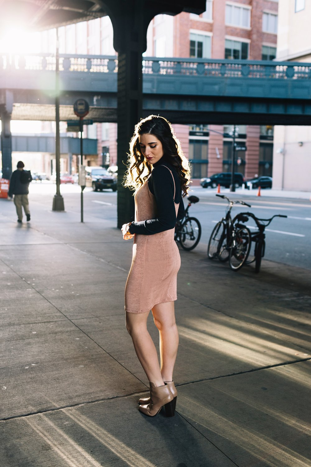 Navy Turtleneck + Pink Slip Dress Finding Your Niche Esther Santer Fashion Blog Louboutins & Love NYC Street Style Blogger Outfit OOTD Trendy Booties Shoes Hair Girl Women Winter Look Shopping Zara M4D3 Banana Republic Photoshoot New York City Shirt.JPG