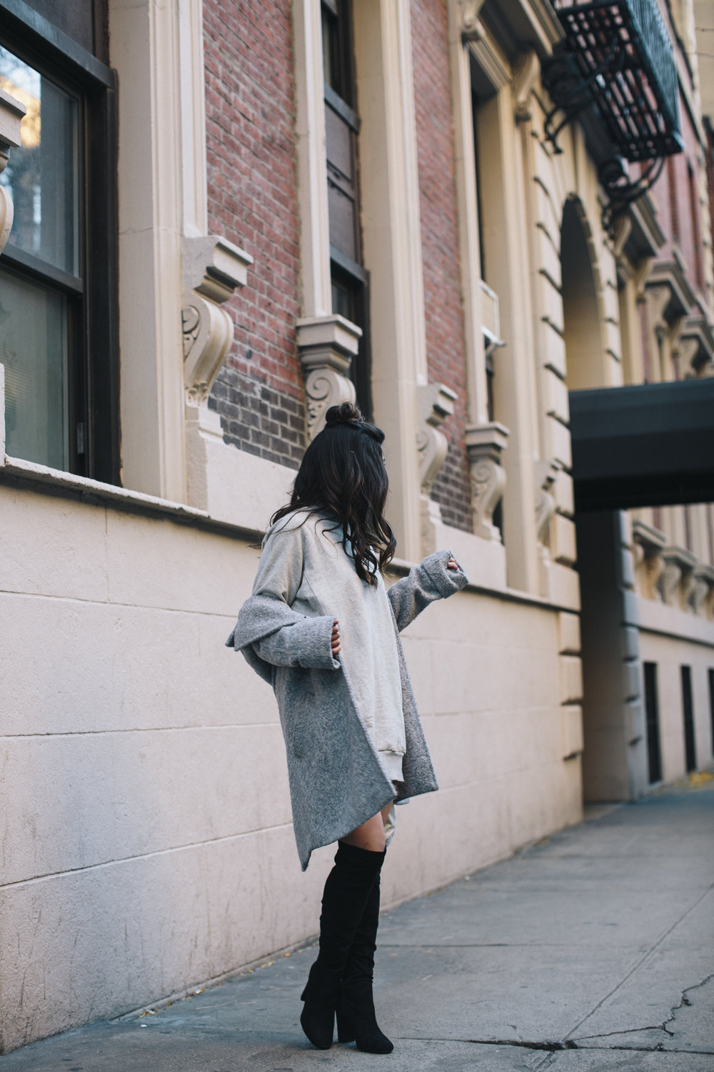 All Grey Look OTK Boots Why I Hate Fashion Week Esther Santer Fashion Blog Louboutins & Love NYC Street Style Blogger Outfit OOTD Trendy Sweatshirt Dress Topknot Coat Women Girl Shoes Shopping Zara Beauty Monochome Accessories Wear Clothes Winter Look.jpg