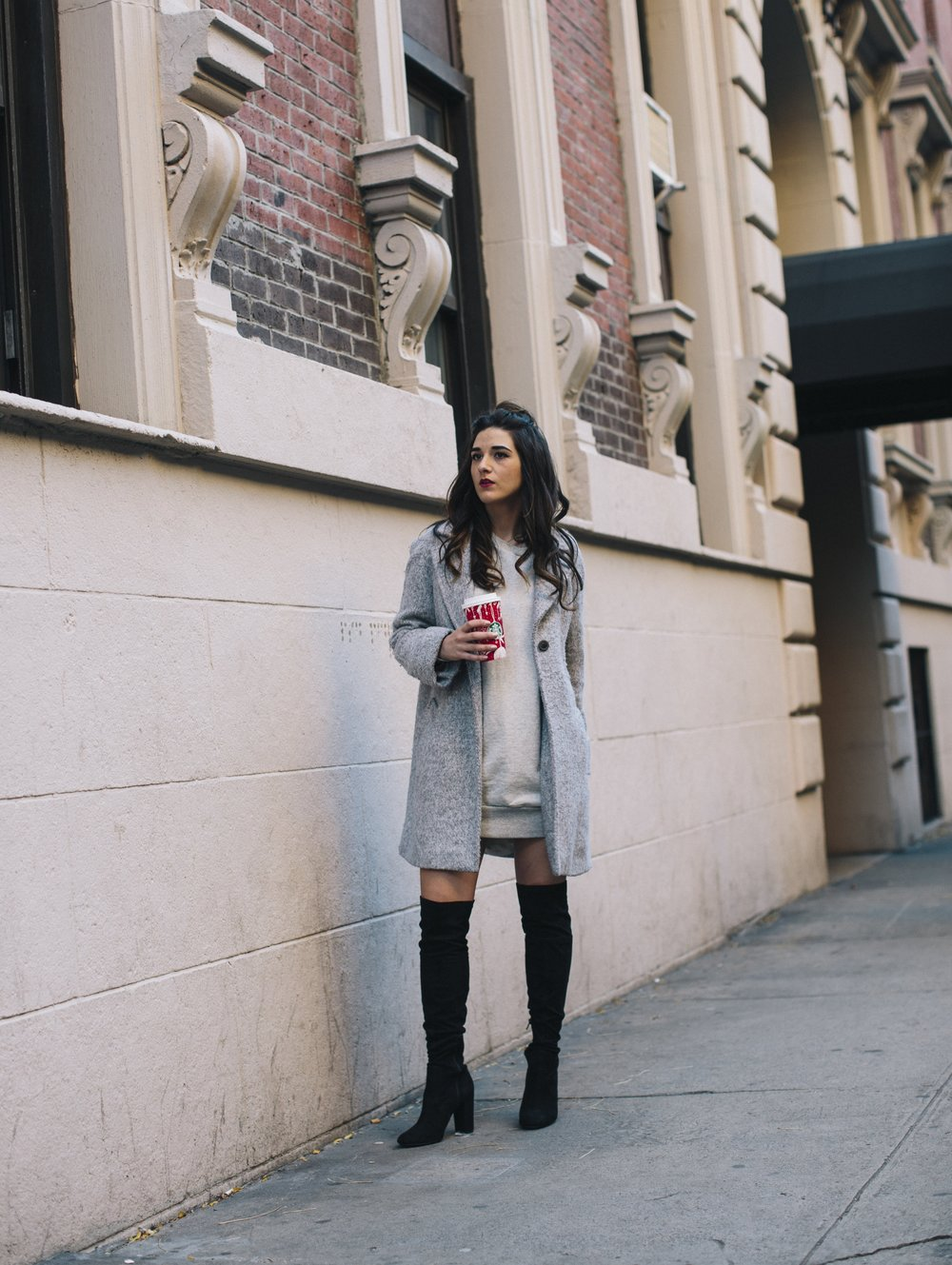 All Grey Look OTK Boots Why I Hate Fashion Week Esther Santer Fashion Blog Louboutins & Love NYC Street Style Blogger Outfit OOTD Trendy Sweatshirt Dress Topknot Coat Women Girl Shoes Shopping Zara Accessories Beauty Monochome Clothes Wear Winter Look.jpg