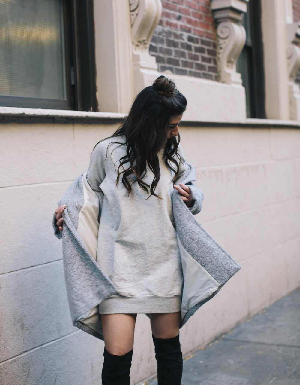 All Grey Look OTK Boots Why I Hate Fashion Week Esther Santer Fashion Blog Louboutins & Love NYC Street Style Blogger Outfit OOTD Trendy Sweatshirt Dress Topknot Coat Women Girl Shoes Shopping Zara Accessories Wear Beauty Monochome Winter Look Clothes.jpg