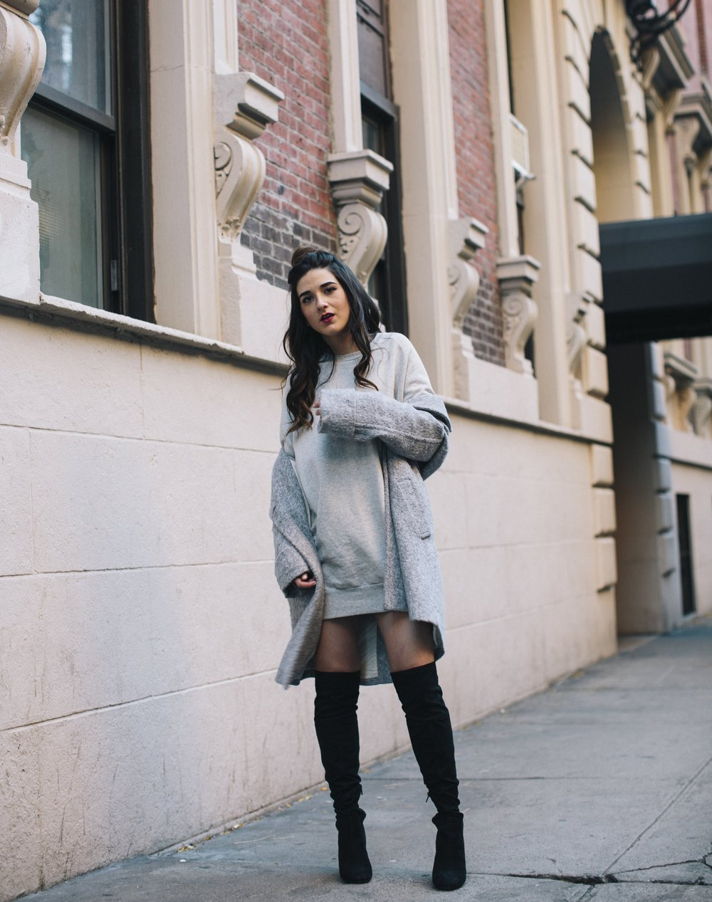 All Grey Look OTK Boots Why I Hate Fashion Week Esther Santer Fashion Blog Louboutins & Love NYC Street Style Blogger Outfit OOTD Trendy Sweatshirt Dress Topknot Coat Women Girl Shoes Shopping Zara Beauty Accessories Monochome Wear Clothes Winter Look.jpg