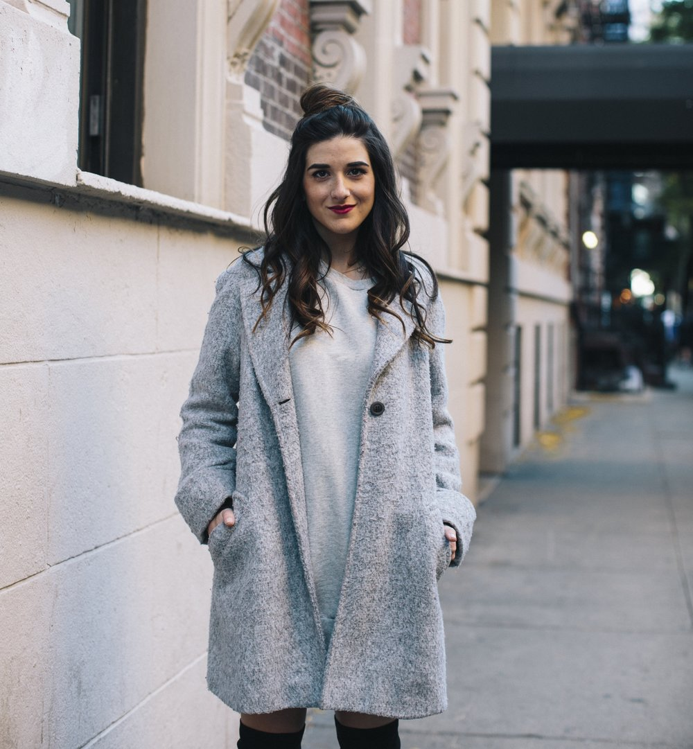 All Grey Look OTK Boots Why I Hate Fashion Week Esther Santer Fashion Blog Louboutins & Love NYC Street Style Blogger Outfit OOTD Trendy Sweatshirt Dress Topknot Coat Women Girl Shoes Shopping Zara Accessories Beauty Monochome Wear Clothes Winter Look.jpg