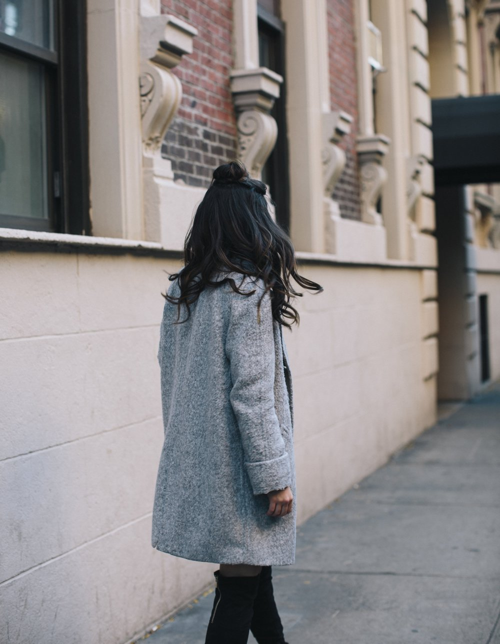 All Grey Look OTK Boots Why I Hate Fashion Week Esther Santer Fashion Blog Louboutins & Love NYC Street Style Blogger Outfit OOTD Trendy Sweatshirt Dress Topknot Coat Women Girl Shoes Shopping Zara Monochome Beauty Look Accessories Winter Wear Clothes.jpg