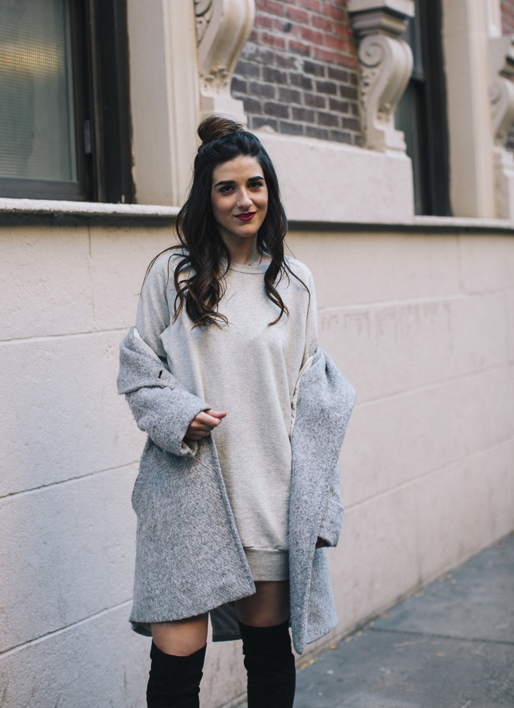 All Grey Look OTK Boots Why I Hate Fashion Week Esther Santer Fashion Blog Louboutins & Love NYC Street Style Blogger Outfit OOTD Trendy Sweatshirt Dress Topknot Coat Women Girl Shoes Shopping Zara Beauty Monochome Accessories Winter Wear Clothes Look.jpg