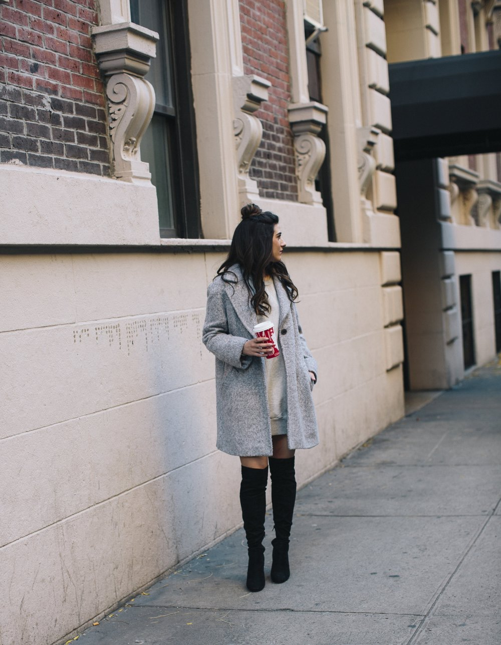 All Grey Look OTK Boots Why I Hate Fashion Week Esther Santer Fashion Blog Louboutins & Love NYC Street Style Blogger Outfit OOTD Trendy Sweatshirt Dress Topknot Coat Women Girl Shoes Shopping Zara Monochome Beauty Accessories Winter Wear Clothes Look.jpg