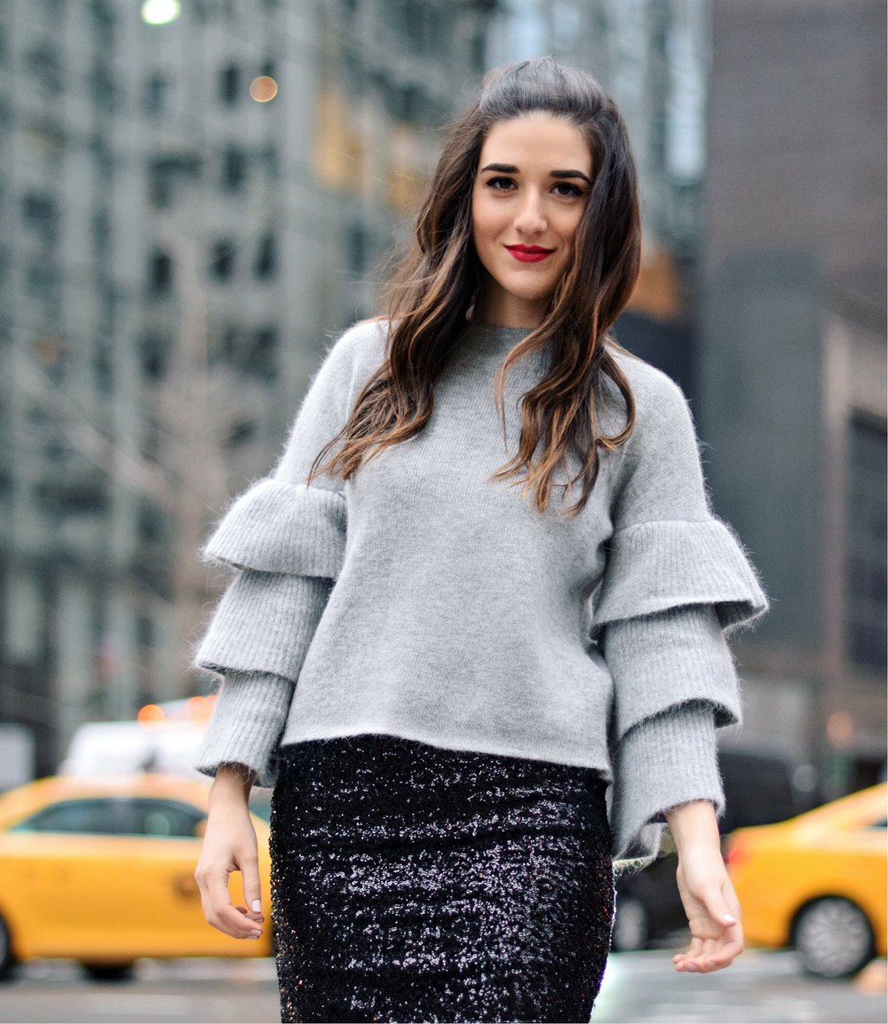 Grey Ruffle Sleeve Sweater Shop Trescool Fall Winter Esther Santer Fashion Blog Louboutins & Love NYC Street Style Blogger Outfit OOTD Trendy Hair Girl Women Trendy Online Shopping What To Wear Stylish Fashionista Beauty Photoshoot Women Sequin Skirt.JPG