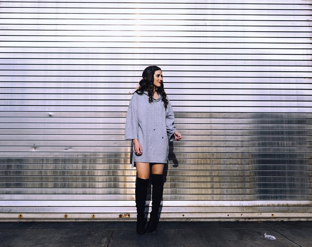 Grey Sweatshirt Dress OTK Boots The Pros and Cons of Blogging Esther Santer Fashion Blog Louboutins & Love NYC Street Style Blogger Outfit OOTD Trendy Edgy Feminine Hair Girl Women Minimal Simple Casual Look Zara Over The Knee Boots Shoes Buy Shopping.JPG