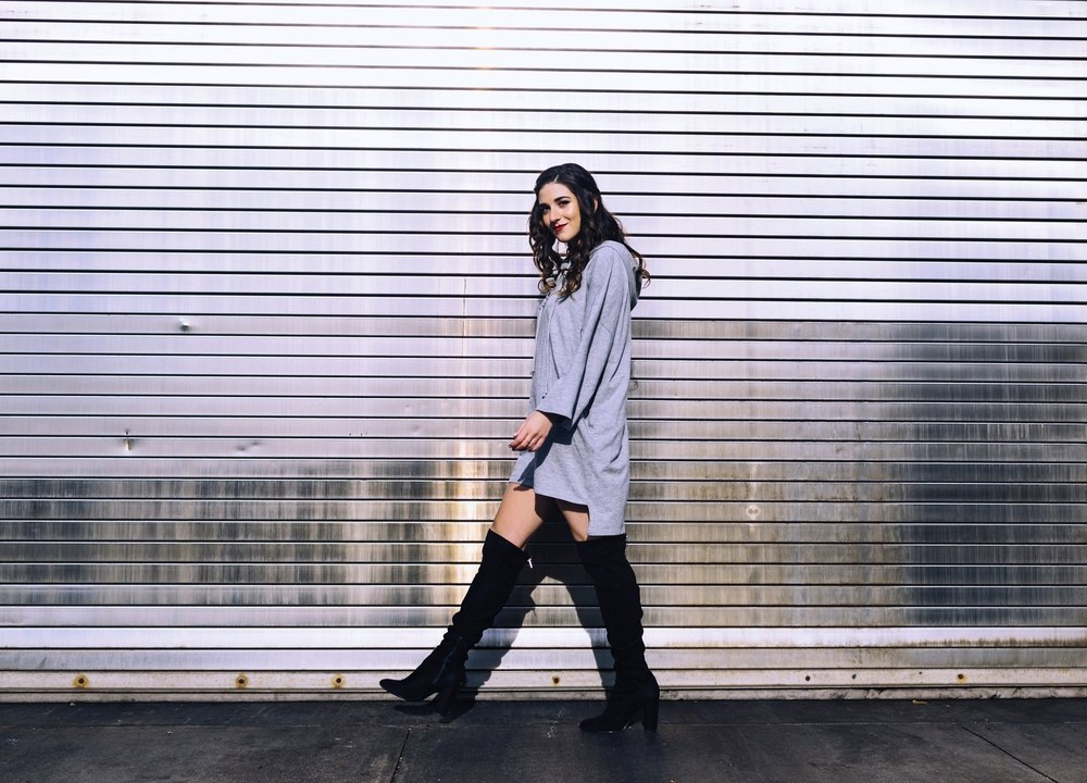 Grey Sweatshirt Dress OTK Boots The Pros and Cons of Blogging Esther Santer Fashion Blog Louboutins & Love NYC Street Style Blogger Outfit OOTD Trendy Edgy Feminine Hair Girl Women Simple Minimal Casual Look Over The Knee Boots Shoes Buy Shopping Zara.JPG