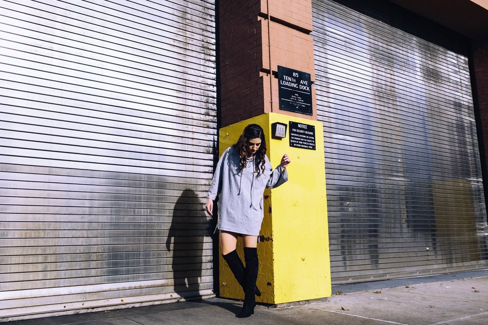 Grey Sweatshirt Dress OTK Boots The Pros and Cons of Blogging Esther Santer Fashion Blog Louboutins & Love NYC Street Style Blogger Outfit OOTD Trendy Edgy Feminine Hair Girl Women Simple Minimal Casual Look Zara Over The Knee Boots Shoes Buy Shopping.JPG