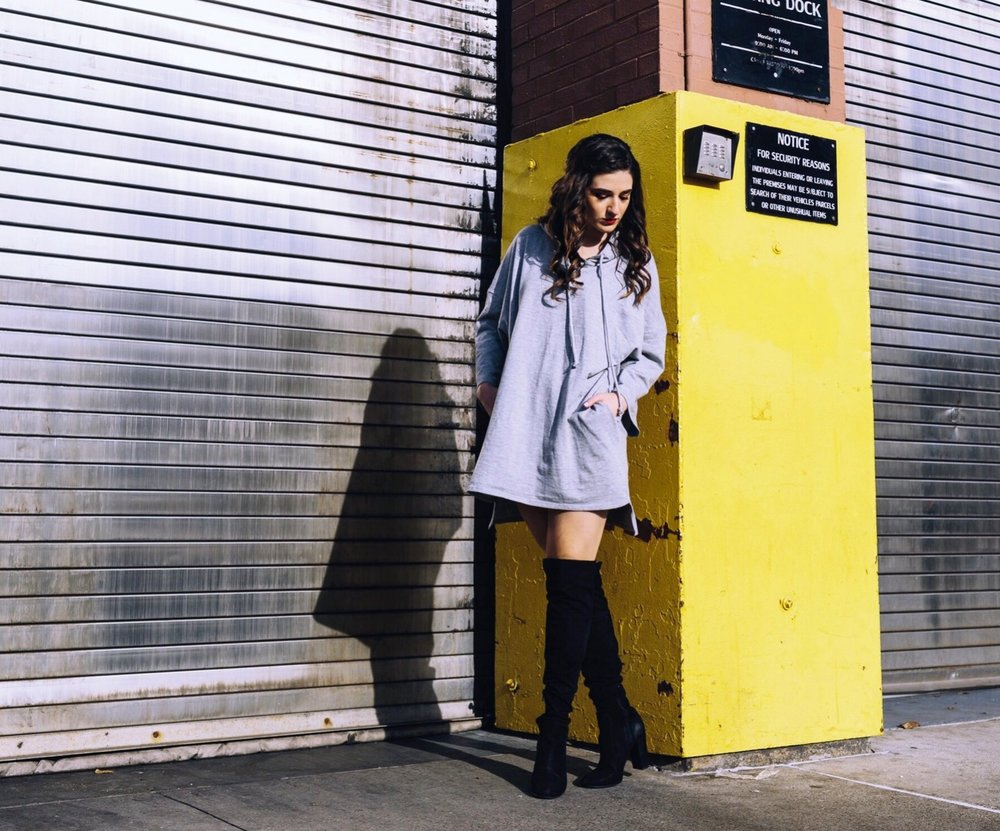 Grey Sweatshirt Dress OTK Boots The Pros and Cons of Blogging Esther Santer Fashion Blog Louboutins & Love NYC Street Style Blogger Outfit OOTD Trendy Feminine Edgy Hair Girl Women Simple Minimal Casual Look Over The Knee Boots Shoes Buy Shopping Zara.JPG