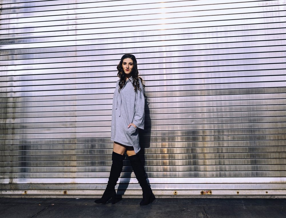 Grey Sweatshirt Dress OTK Boots The Pros and Cons of Blogging Esther Santer Fashion Blog Louboutins & Love NYC Street Style Blogger Outfit OOTD Trendy Feminine Edgy Hair Girl Women Simple Minimal Casual Look Over The Knee Shoes Boots Buy Shopping Zara.JPG